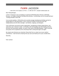 exceptional cover letter leading professional birthday party host cover letter examples