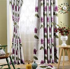 Thick Purple Curtains Polyester Purple Floral Pattern Thermal Insulated Curtains