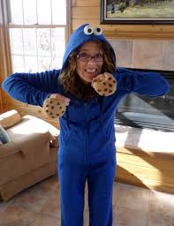 picture of my very simple very homemade cookie monster costume