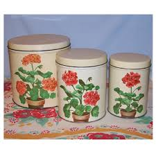 vintage metal kitchen canisters vintage metal kitchen canisters with geraniums for the home