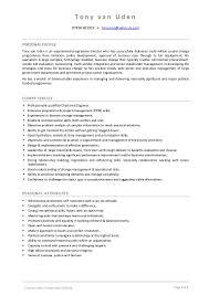 Cv Skills And Attributes Tony Van Uden Cv Summary 2013 08