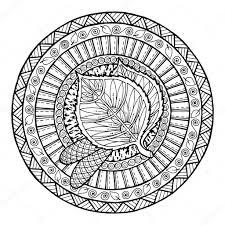 autumn theme circle tribal doodle ornament hand drawn birch leaf