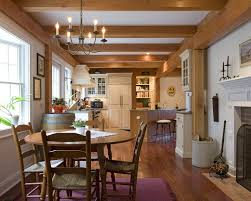 Kitchen Island Post Post And Beam Design Ideas Dining Room Farmhouse With Brick
