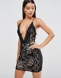 plunge dress missguided missguided lace plunge strappy bodycon dress