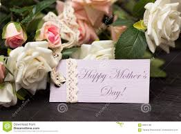 happy mothers day card with rustic roses on wooden board stock