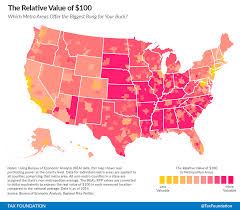 Metro Property Maps by The Real Value Of 100 In Metropolitan Areas Tax Foundation