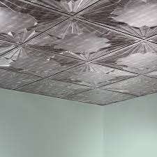fasade ceiling tile 2x2 suspended art deco in crosshatch silver