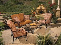 furniture wrought patio furniture with fireplace in