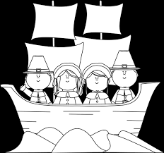black and white pilgrims on the mayflower clip black and white