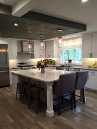 Kitchen Island With Table Seating T Shaped Kitchen Island With Seating The Center Island Has A