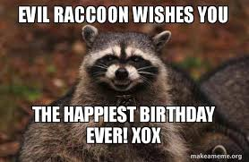 Evil Raccoon Meme - evil raccoon wishes you the happiest birthday ever xox evil