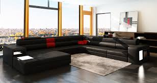 canapé panoramique en cuir deco in canape panoramique cuir angle gauche noir et