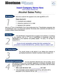 fillable online revenue mt fillable alcohol sales policy example