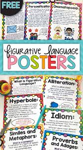 free figurative language poster set for figures of speech lessons