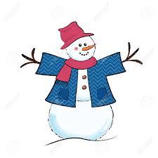 cute cartoon snowman wearing jacket scarf and floppy hat royalty