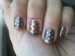 love for nail art gold and black french tipped nails with polka dots