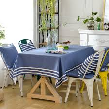 yazi mediterranean style rectangle stripe tablecloth dust proof