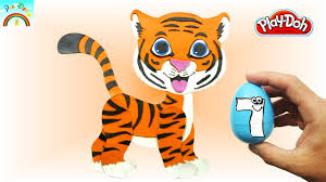 how to best play doh creation cute tiger cartoon animals for