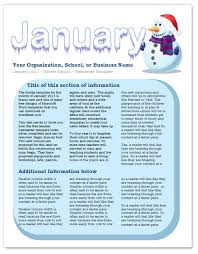 january newsletter template by worddraw com