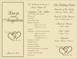 wedding program template free printable wedding programs templates sle wedding