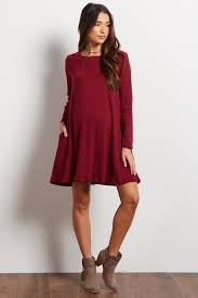 maroon sweater dress burgundy solid ribbed maternity sweater dress