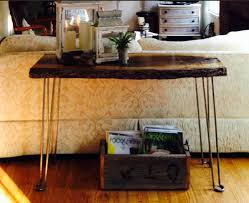 Walnut Sofa Table by Laurie U0027s Metal Hairpin Leg U0026 Live Edge Sofa Table