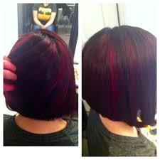 dark brown with pink highlights and angled bob yelp