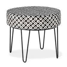 cheverly round ottoman with hairpin legs black white threshold