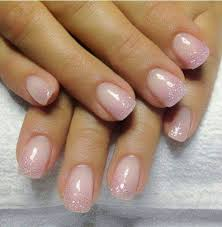 gel backfill with led polish natural pink and silver sprinkle