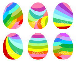 multicolored striped easter eggs isolated on white stock vector