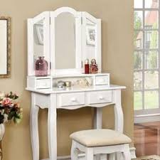 Bobkona St Croix Collection Vanity Set With Stool White Teen Vanity Set