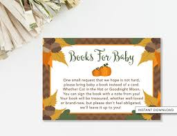 bring a book instead of a card poem bring a book insert card pumpkin baby shower pumpkin book card