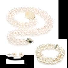 wedding jewellery sets snow white pearl bridal jewellery set luxurious three strand
