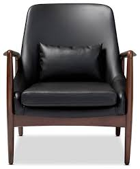 Faux Leather Accent Chair Retro Black Faux Leather Accent Chair Walnut Wood Frame