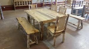 rustic log dining room tables montana pioneer rustic log dining table house pinterest