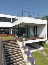 mediterranean stairs concept for exterior view of modern house