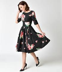 pretty dress the pretty dress company black pink lamour floral print hepburn
