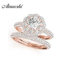 wedding ring sets for women ainuoshi trendy 925 sterling silver gold color women wedding
