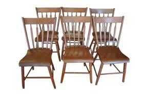 set of 6 antique plank dining chairs solid wood circa 1870 33