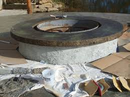 Concrete Fire Pits by Concrete Fire Pit With Vertical Carved Stonework Hometalk