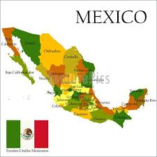map of mexico with states illustration of mercator map of mexico and flag