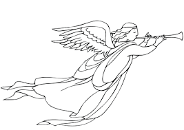 christmas angel christmas angel with trumpet coloring page free printable coloring