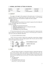 sentence pattern in english grammar grammar review