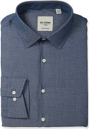 amazon com ben sherman men u0027s slim fit dot dobby spread collar