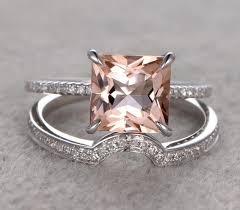 morganite bridal set 1 50 carat pink morganite princess cut morganite diamond