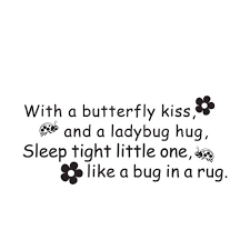 kids wall decal butterfly kiss ladybug hug quote vinyl decal home
