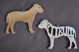 pair of pitbull pit bull terrier wooden decoration