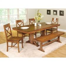 6 piece millwright wood dining set in antique brown c60w2ab