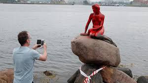 vandals attack little mermaid statue in copenhagen harbor nbc news