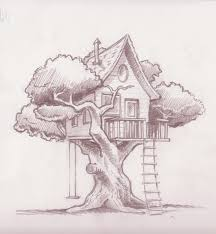 houses drawings treehouse final sketch zentangles paper crafts pinterest